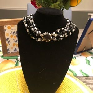 Antique black and silver beaded necklace. EUC.